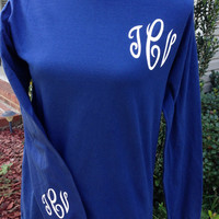 Monogram T-Shirt Comfort Colors Long Sleeve Monogrammed T Shirt Custom TShirt Monogram Personalized T-Shirt Monogrammed Gifts T-Shirt