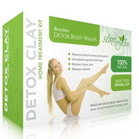 Detox Body Wrap for Weight Loss - Brazilian Silky n' Slim Volcanic Clay Organic Body Wrap Home Spa Treatment. Reduce Cellulite, Psoriases & Stretch Marks (8 Applications)