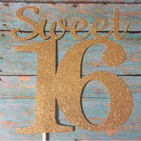 Sweet 16 Cake Topper, Sweet Sixteen Cake Topper, Gold Sweet 16 Cake Topper, Gold First Sweet 16 Birthday, Pink and Gold Cake Topper