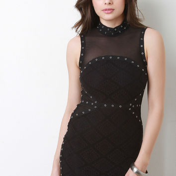 Patterned Semi-Sheer Lace Bodycon Dress