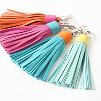 Leather Tassel Keychain Tassel Key Ring With Clasp Gold Accessorie For Bag Tassel Charm Dark Brown Gold
