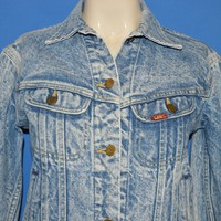 Vintage 80s Lee Acid Wash Denim Jacket Youth Girls 12