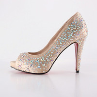 Copper shoes with rainbow rhinestone for wedding or party