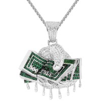 Iced Out Hands Holding Dollar Bills Money Dripping Rich Pendant
