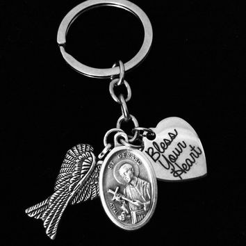Bless Your Heart Saint Gerard Key Chain Angel Wings Silver Key Ring Gift Inspirational Jewelry Catholic Medal Patron Saint of Expectant Mothers