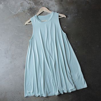 Final Sale - BSIC - Sleeveless Swingy Tank Dress in Mint