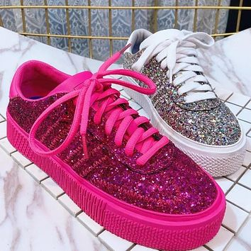 New sequined low-top lace-up casual women's shoes