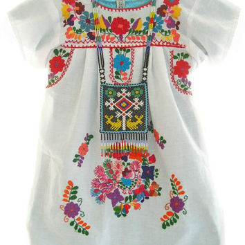 Baby Mexican dress white cotton embroidered peasant dress tunic unique Baby and Children ethnic exclusive collection