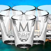 TWO Personalized Shot Glass Gift Wedding Gifts Whiskey Custom Glass Shooter Etched Glass Engraved Glass Gift Favor Glassware Bar
