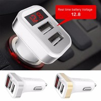 2.1A Dual USB Port Digital LED Voltage Current Display Car Charger Charging Adapter For iPhone iPad Samsung Xiaomi Huawei Phone