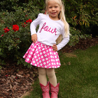Hot Pink & White 4th Birthday Outfit with Twirl Skirt and Hair Bow, Hot Pink Girls Polka Dot Fourth Birthday Outfit