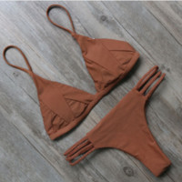 Brown Strappy Bikini Set