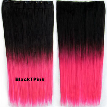"Dip dye hairpieces New Fashion 24"" Women Clip in on gradient wig Bath & Beauty Hair Ombre Hair Extensions Two Tone Straight hair Gradient Hair Extension Colorful Hairpieces GS-666 Black T Pink,1PCS"