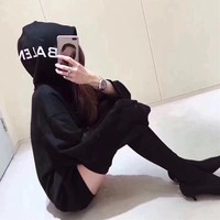 """Balenciaga"" Women Casual Logo Letter Print Hooded Long Sleeve Sweater Loose  Tops"