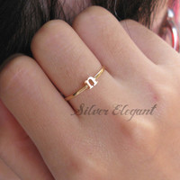 Stacking Initial Name Ring - Birthday Gift - Any Font Available  - Sterling Silver / 18K Gold Plated