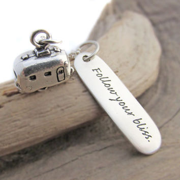Sterling Silver Trailer Charm Necklace, Follow Your Bliss Quote, Retirement Gift, Gift for Retiree
