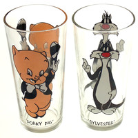 Looney Tunes Sylvester Porky Pig Drinking Glasses Pepsi Collector Series 1973
