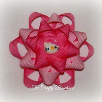 Hello Kitty ~ Mini Flower Hair Bow ~ Pink and Hot Pink ~ Small Hair Bow ~ Loopy Flower Bow ~  Kitty Cat Bow ~ Baby Hair Bow ~ Flower Bow