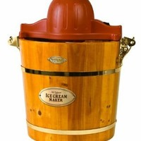Nostalgia ICMW400 Vintage Collection 4-Quart Wood Bucket Electric Ice Cream Maker with Easy to Clean Liner