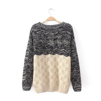 Womens Comfortable Hollow Knit Pullover Sweater