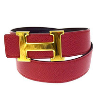 Auth HERMES Constance H Buckle Belt Leather Gold-tone Red #70 France 61B1517