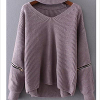 Grey knitted warm sweater Casual loose jumper Purple
