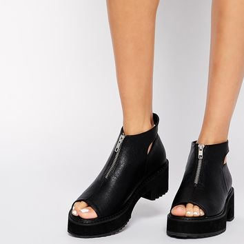 ASOS REMIND ME Peep Toe Zip Front Ankle Boots at asos.com