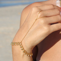 Gold Drops Hand Chain