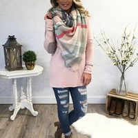 The Perfect Blanket Scarf - Blush/Navy