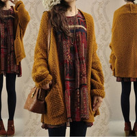 New Women Oversized Loose Knitted Sweater Batwing Sleeve Tops Cardigan Outwear = 1945874180
