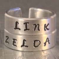Zelda and Link Ring Set   Best Friends    Couples Ring Set  Legend of Zelda Inspired