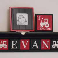 "FARM TRACTOR Nursery Decor Artwork, Wall Art for Baby Boy Nursery 24"" Black Shelf 6 Red and Black Letter Plaques Personalized EVAN Tractors"