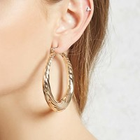 Etched Hoop Earrings - Accessories - 1000160071 - Forever 21 Canada English