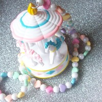 Rainbow Candy Love - Pastel Hearts and Carousel Necklace