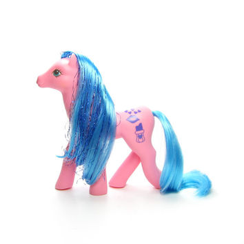 Happy Hugs Sweet Kisses Vintage My Little Pony G1, Pink with Blue Tinsel Hair, Lipstick