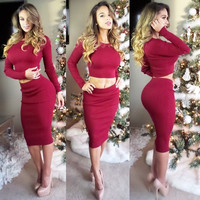 Red Long Sleeve Cropped Top and High Waisted Pencil Skirt