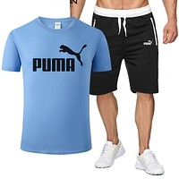 Onewel PUMA  fashion letter Top and Shorts two piece suit T Shirt Leisure sport Blue