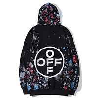 Off White New fashion letter multicolor print couple sports long sleeve top sweater