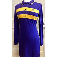Fanwear: Ladies Purple and Gold Chest Stripe Long Sleeve Polo Dress