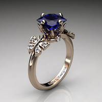 Nature Inspired 14K Rose Gold 2.5 Ct Princess Blue Sapphire Diamond Leaf and Vine Butterfly Engagement Ring Wedding Ring R1036-14KRGDBS