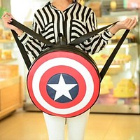 2016 New Brand Girls Backpack Travel PU Bag the Avengers Captain America Circle Backpack Fashion Couples School Bags