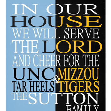 A House Divided UNC Tar Heels & Mizzou Tigers personalized family print poster Christian gift sports wall art - multiple sizes