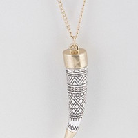 Aztec Etched Horn long Necklace