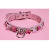 Pink Pleather Lace Collars - Kitten's Playpen