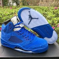 "Air Jordan 5 Retro ""Raging Bull"" Fashion Couple Style Leather Sneakers"