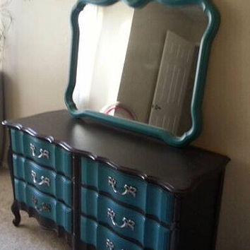 Vintage French Provincial Dresser with Matching Mirror