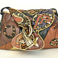 Funky late 80s purse. Vegan, brown, gold, patchwork, pockets, roomy.