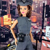 Barbie Doll Clothes - Doll Jumpsuit Uniform with Hat, Holster Bag, Baton, Earrings, and Shoes