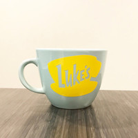 1- Gilmore Girls inspired Luke's Mug with Vinyl Logo Decal **Must order by 12/16 to receive for Christmas**