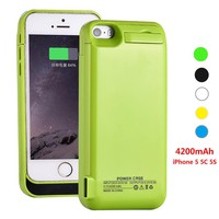 For iPhone 5 5S 5C SE Battery Charger Case Power Case External Battery Pack Power Case Powerbanks 4200mAh 0.5A Output